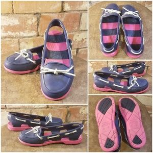 Navy & Pink CROCS Boat Shoes